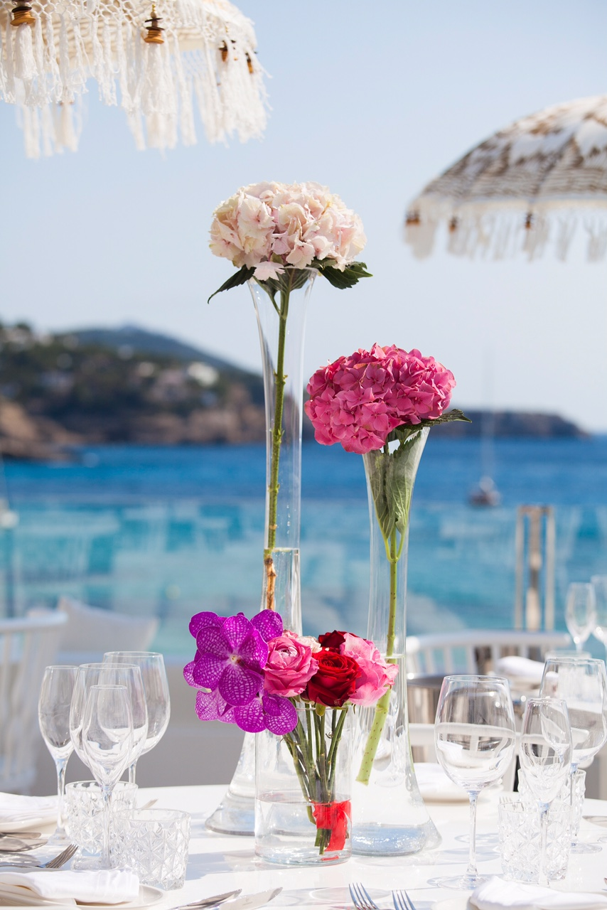beach club flower arrangements ibiza
