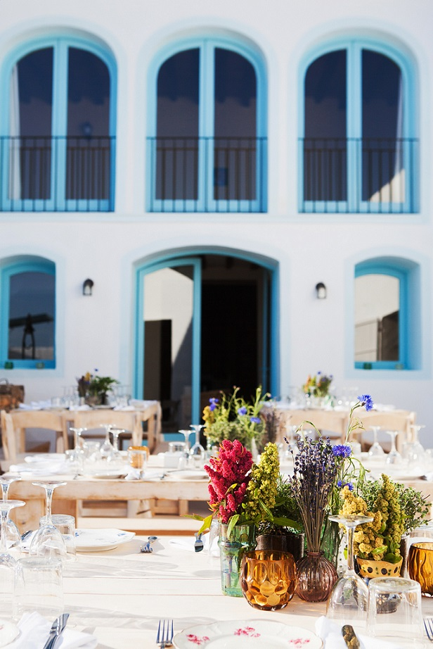 ibiza hotel flowers and fresh bouquets on restaurant terrace