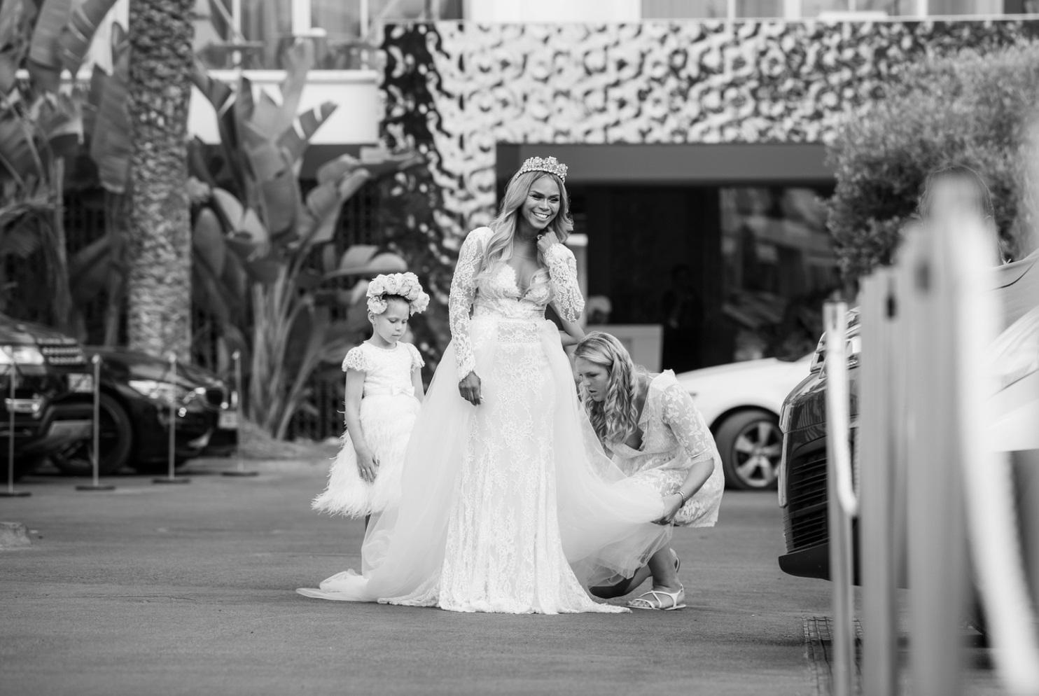 ibiza wedding flowers bouquet black and white