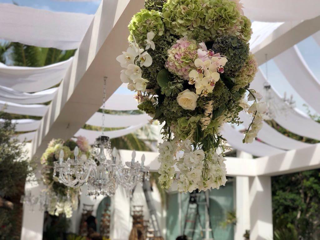 ibiza wedding bouquet roof