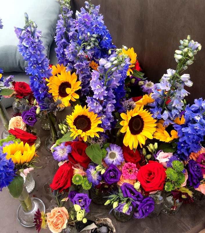 colorful bouquet at ibiza event